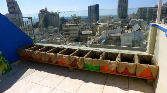 תשתית לגינה מבוססת על ארגזי פלסטיק משומשים מדופנים בבד יוטה, רגע לפני שתילה